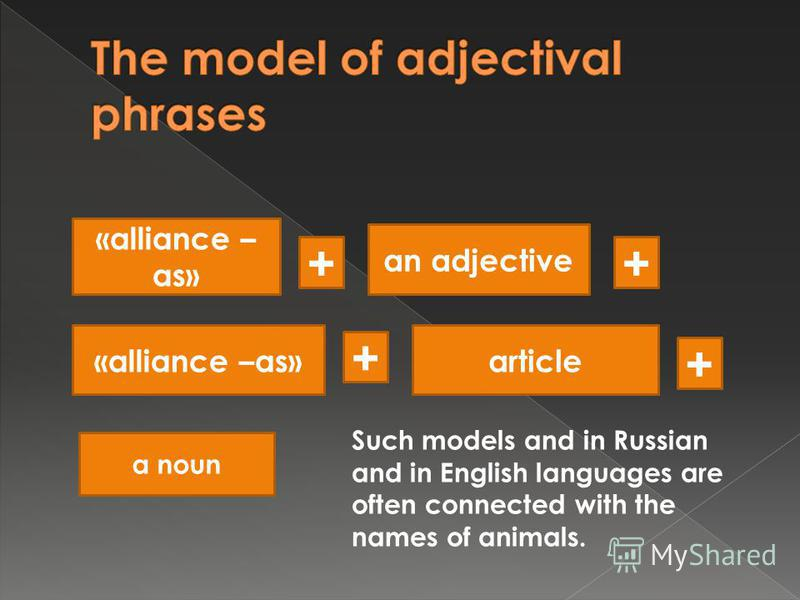 «alliance – as» + an adjective + «alliance –as»article + + a noun Such models and in Russian and in English languages are often connected with the names of animals.
