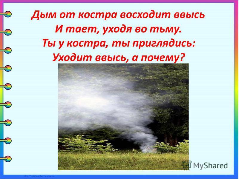 Дым от костра восходит ввысь И тает, уходя во тьму. Ты у костра, ты приглядись: Уходит ввысь, а почему?