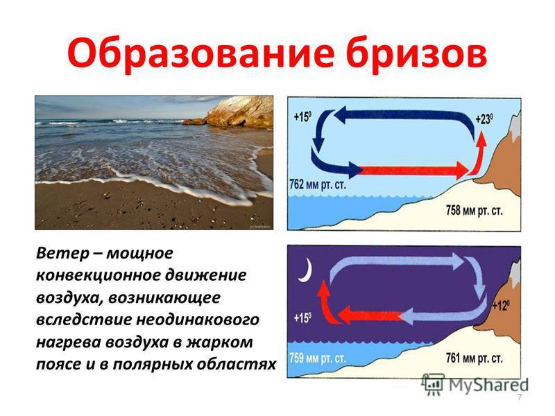 Образование бризов 7 Ветер – мощное конвекционное движение воздуха, возникающее вследствие неодинакового нагрева воздуха в жарком поясе и в полярных областях