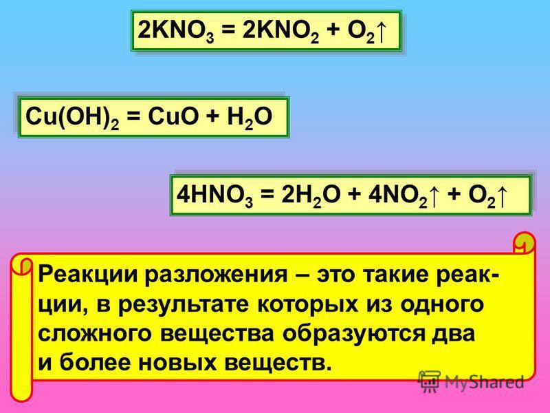 2KNO 3 = 2KNO 2 + O 2 Cu(OH) 2 = CuO + H 2 O 4HNO 3 = 2H 2 O + 4NO 2 + O 2 Реакции разложения – это такие реакции, в результате которых из одного сложного вещества образуются два и более новых веществ.