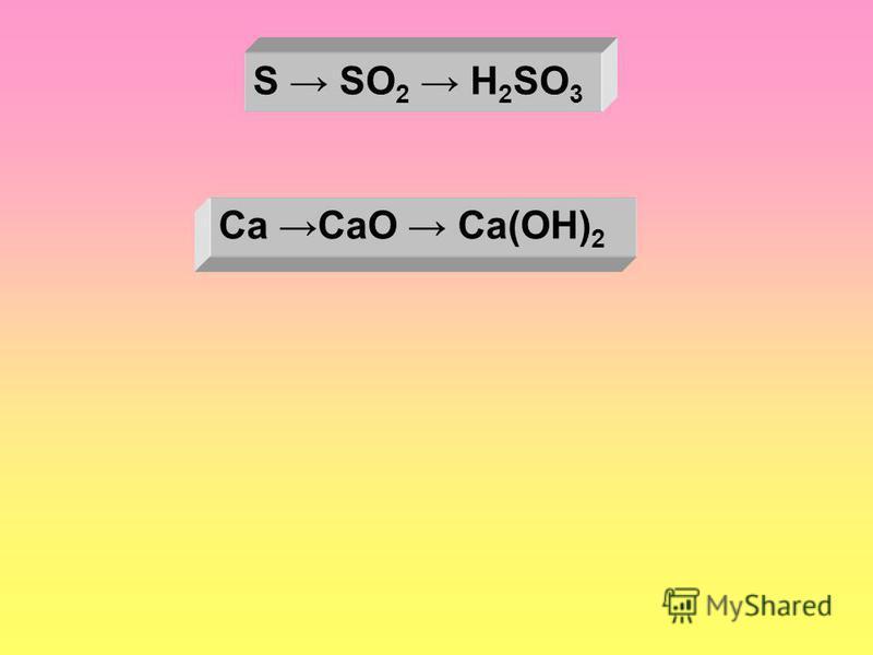 S SO 2 H 2 SO 3 Ca CaO Ca(OH) 2