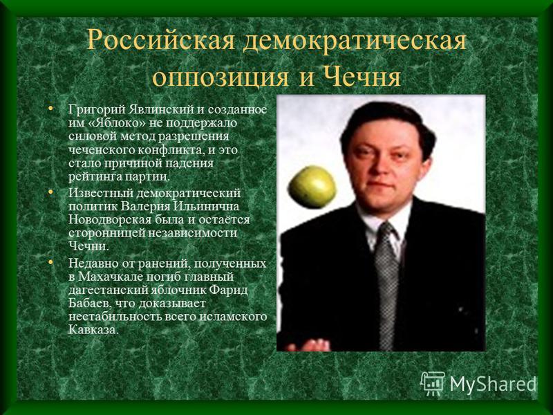 Российская демократическая оппозиция и Чечня Григорий Явлинский и созданное им «Яблоко» не поддержало силовой метод разрешения чеченского конфликта, и это стало причиной падения рейтинга партии. Известный демократический политик Валерия Ильинична Нов