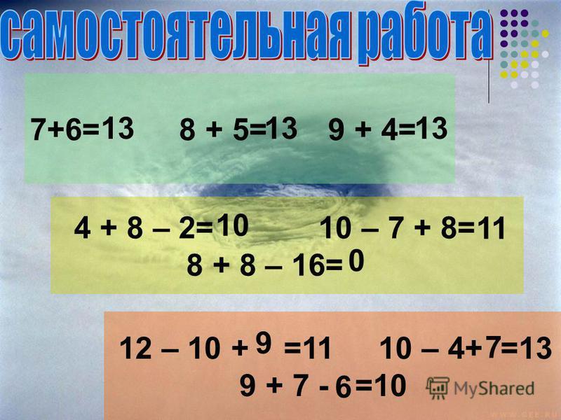 7+6= 8 + 5= 9 + 4= 4 + 8 – 2= 10 – 7 + 8= 8 + 8 – 16= 12 – 10 + =11 10 – 4+ =13 9 + 7 - =10 13 10 11 0 9 7 6