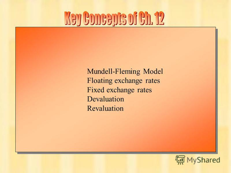 Chapter Twelve 17 Mundell-Fleming Model Floating exchange rates Fixed exchange rates Devaluation Revaluation Mundell-Fleming Model Floating exchange rates Fixed exchange rates Devaluation Revaluation