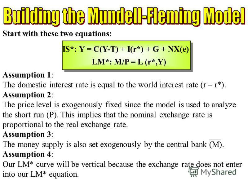 Chapter Twelve 3 Assumption 1: The domestic interest rate is equal to the world interest rate (r = r*). Assumption 2: The price level is exogenously fixed since the model is used to analyze the short run (P). This implies that the nominal exchange ra