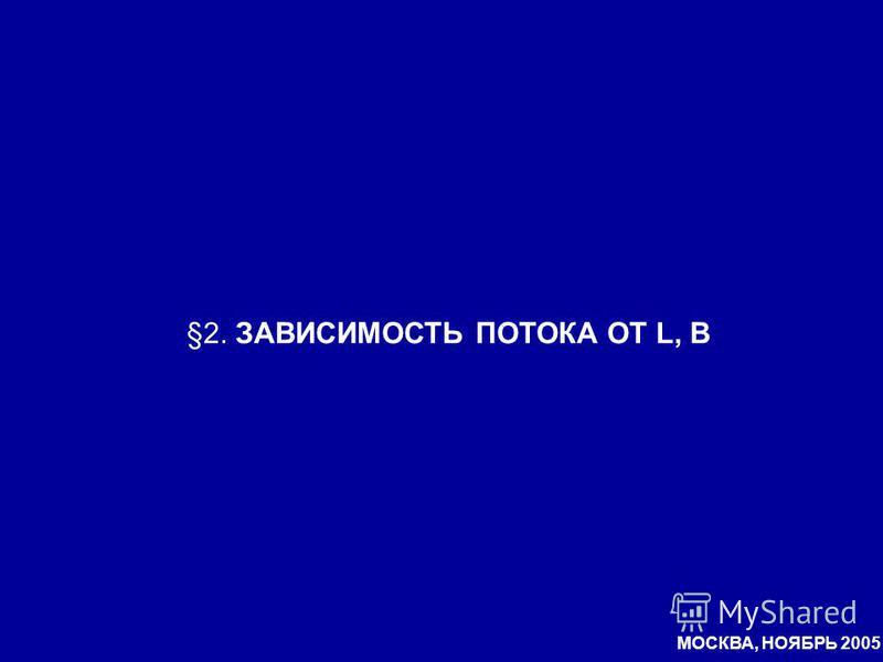 §2. ЗАВИСИМОСТЬ ПОТОКА ОТ L, B МОСКВА, НОЯБРЬ 2005