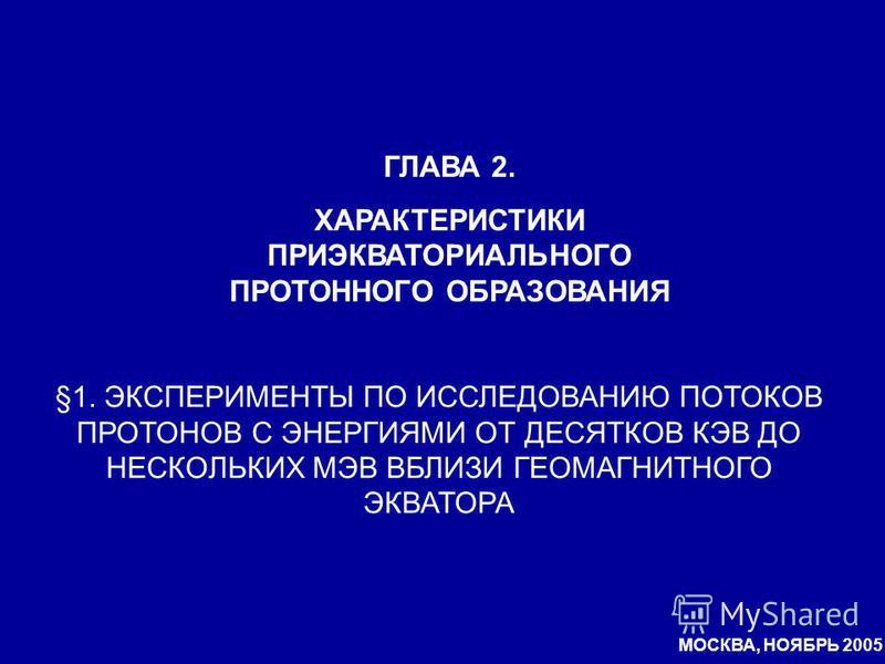 ГЛАВА 2. ХАРАКТЕРИСТИКИ ПРИЭКВАТОРИАЛЬНОГО ПРОТОННОГО ОБРАЗОВАНИЯ §1. ЭКСПЕРИМЕНТЫ ПО ИССЛЕДОВАНИЮ ПОТОКОВ ПРОТОНОВ С ЭНЕРГИЯМИ ОТ ДЕСЯТКОВ КЭВ ДО НЕСКОЛЬКИХ МЭВ ВБЛИЗИ ГЕОМАГНИТНОГО ЭКВАТОРА МОСКВА, НОЯБРЬ 2005