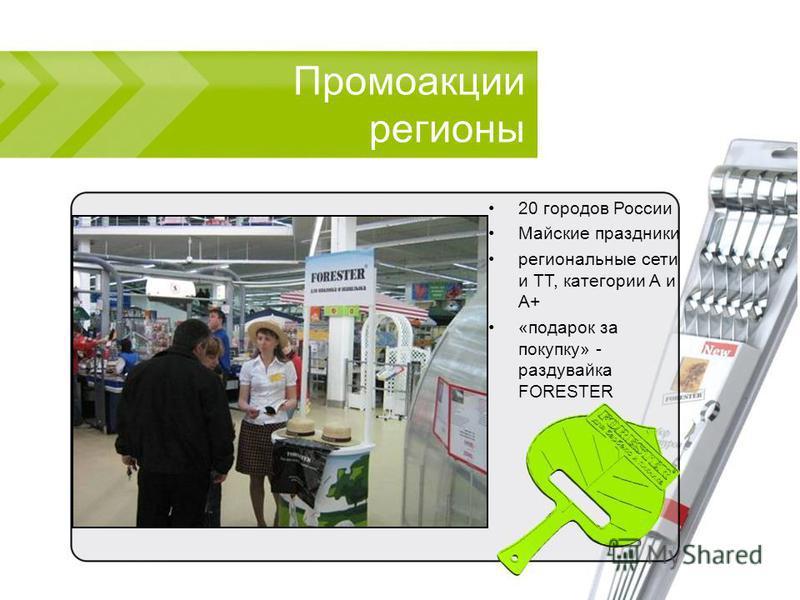 Промоакции регионы 20 городов России Майские праздники региональные сети и ТТ, категории А и А+ «подарок за покупку» - раздувайка FORESTER