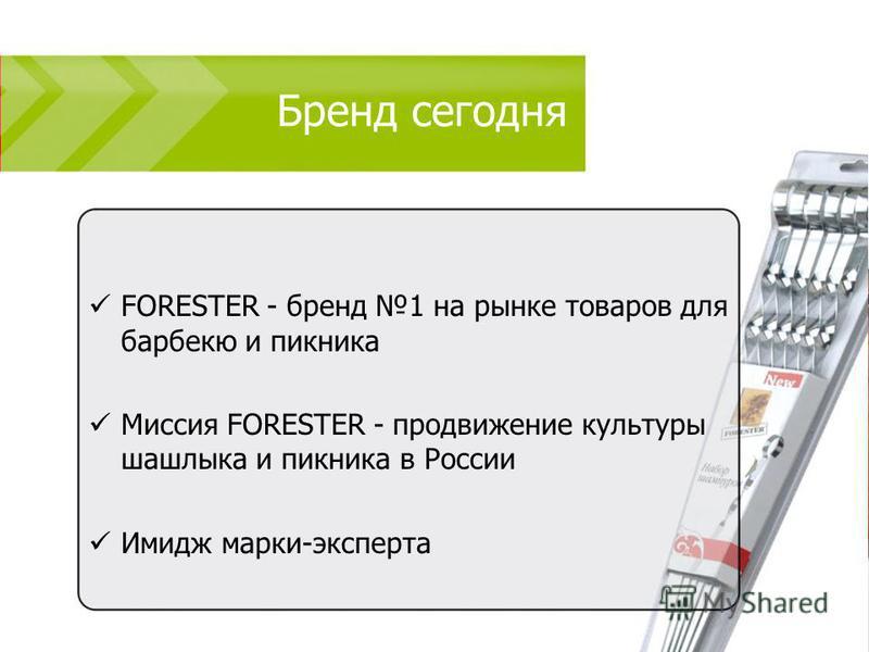 Бренд сегодня FORESTER - бренд 1 на рынке товаров для барбекю и пикника Миссия FORESTER - продвижение культуры шашлыка и пикника в России Имидж марки-эксперта