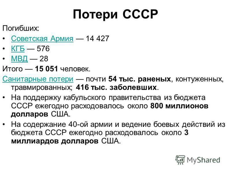 Потери СССР Погибших: Советская Армия 14 427Советская Армия КГБ 576КГБ МВД 28МВД Итого 15 051 человек. Санитарные потери Санитарные потери почти 54 тыс. раненых, контуженных, травмированных; 416 тыс. заболевших. На поддержку кабульского правительства