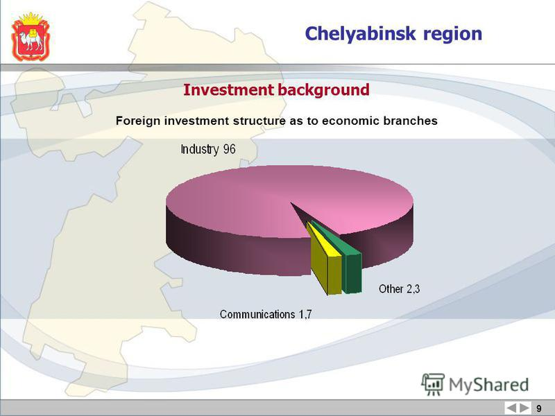 Investment background Foreign investment structure as to economic branches 9 Chelyabinsk region