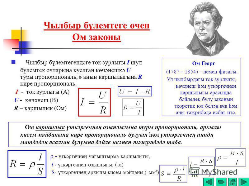 Чылбыр бүлемтеге өчен Ом законы Чылбыр бүлемтегендәге ток зурлыгы I шул бүлемтек очларына куелган көчәнешкә U туры пропорциональ, ә аның каршылыгына R кире пропорциональ. I - ток зурлыгы (А) U - көчәнеш (В) R – каршылык (Ом) Ом Георг (1787 – 1854) –