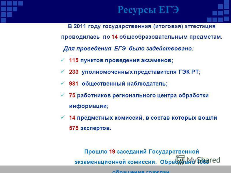 В 2011 году государственная (итоговая) аттестация проводилась по 14 общеобразовательным предметам. Для проведения ЕГЭ было задействовано: 115 пунктов проведения экзаменов; 233 уполномоченных представителя ГЭК РТ; 981 общественный наблюдатель; 75 рабо