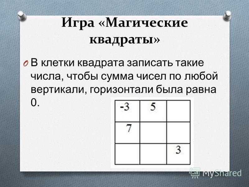 Игра «Магические квадраты» O В клетки квадрата записать такие числа, чтобы сумма чисел по любой вертикали, горизонтали была равна 0.