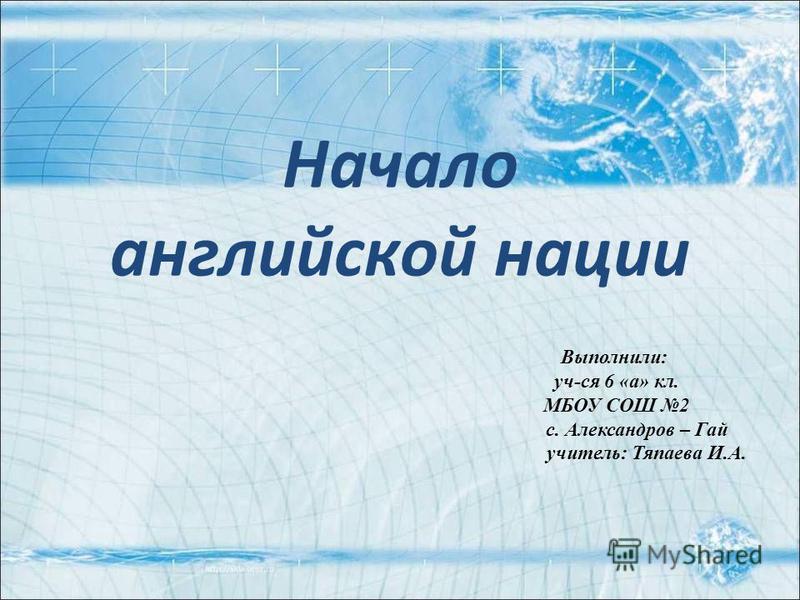 Начало английской нации Выполнили: уч-ся 6 «а» кл. МБОУ СОШ 2 с. Александров – Гай учитель: Тяпаева И.А.