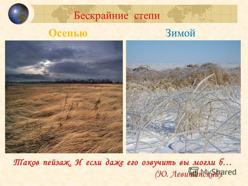 Осенью Зимой Бескрайние степи Таков пейзаж. И если даже его озвучить вы могли б… (Ю. Левитанский).