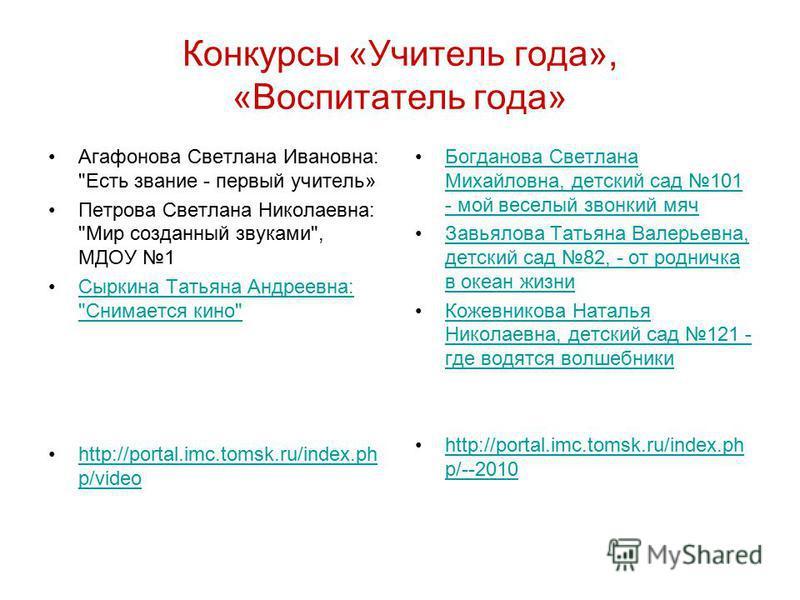 Конкурсы «Учитель года», «Воспитатель года» Агафонова Светлана Ивановна: