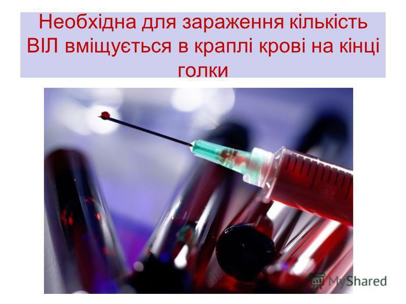 Необхідна для зараження кількість ВІЛ вміщується в краплі крові на кінці голки