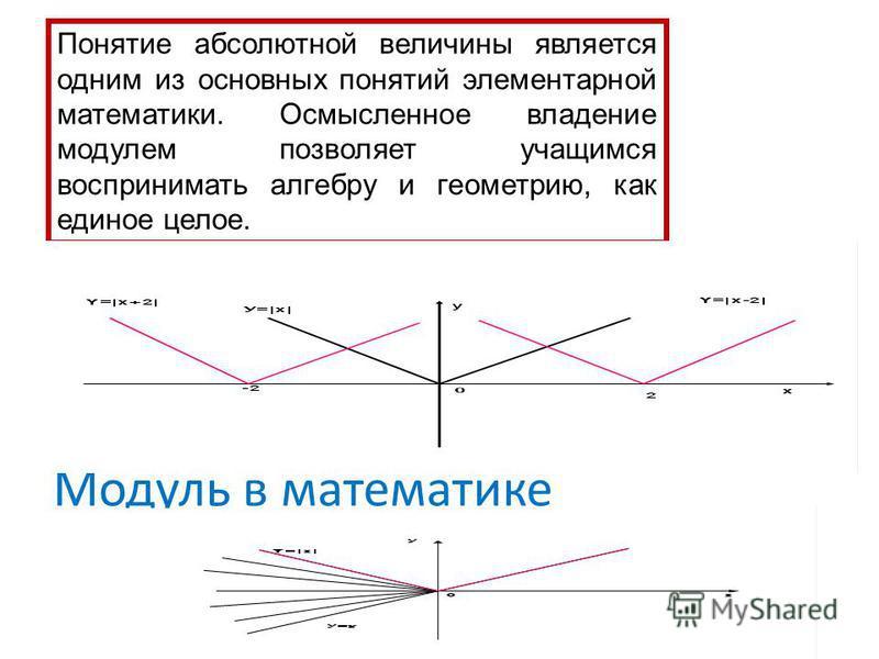 Модуль в математике Понятие абсолютной величины является одним из основных понятий элементарной математики. Осмысленное владение модулем позволяет учащимся воспринимать алгебру и геометрию, как единое целое.