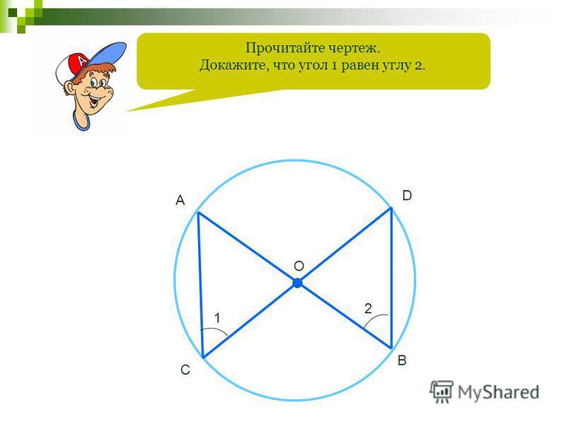 Прочитайте чертеж. Докажите, что угол 1 равен углу 2. O A B C D 1 2