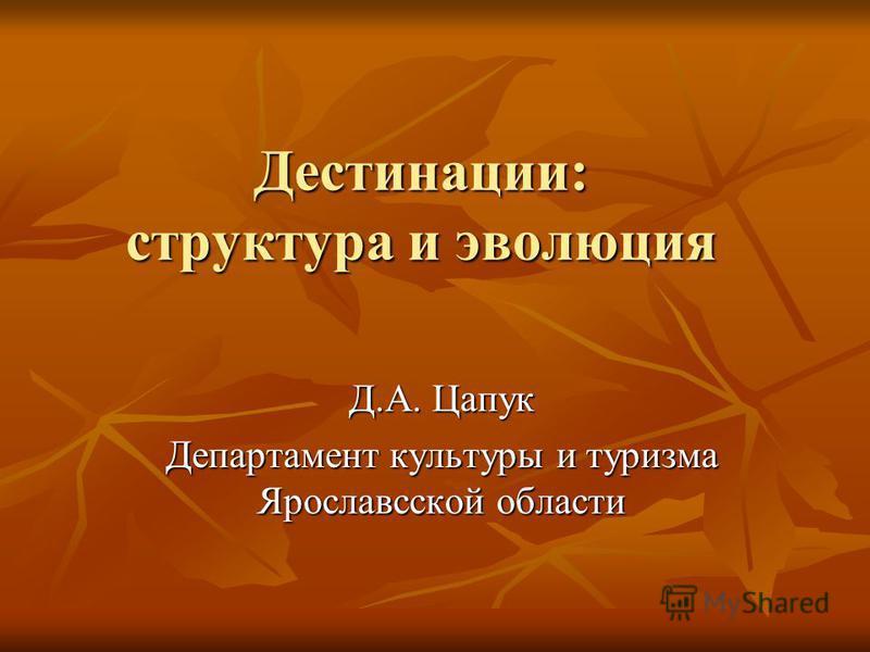 Дестинации: структура и эволюция Д.А. Цапук Департамент культуры и туризма Ярославсской области