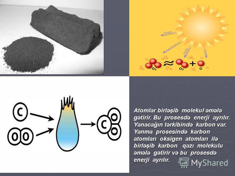 Atomlar birləşib molekul əmələ gətirir. Bu prosesdə enerji ayrılır. Yanacağın tərkibində karbon var. Yanma prosesində karbon atomları oksigen atomları ilə birləşib karbon qazı molekulu əmələ gətirir və bu prosesdə enerji ayrılır.