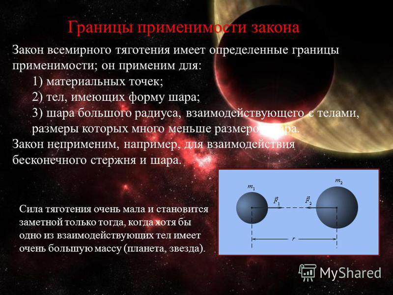 Границы применимости закона Закон всемирного тяготения имеет определенные границы применимости; он применим для: 1) материальных точек; 2) тел, имеющих форму шара; 3) шара большого радиуса, взаимодействующего с телами, размеры которых много меньше ра