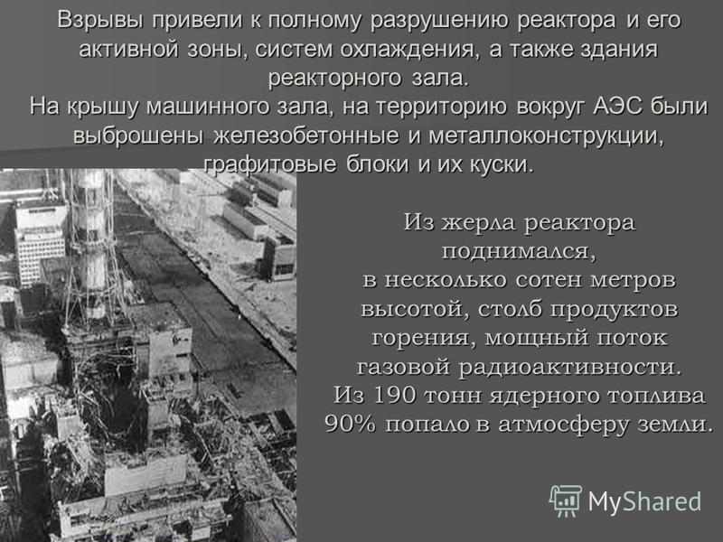 Из жерла реактора поднимался, в несколько сотен метров высотой, столб продуктов горения, мощный поток газовой радиоактивности. Из 190 тонн ядерного топлива 90% попало в атмосферу земли. Взрывы привели к полному разрушению реактора и его активной зоны