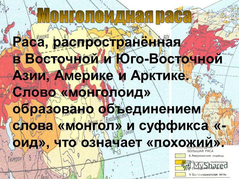 Раса, распространённая в Восточной и Юго-Восточной Азии, Америке и Арктике. Слово «монголаид» образовано объединением слова «монгол» и суффикса «- аид», что означает «похожий».