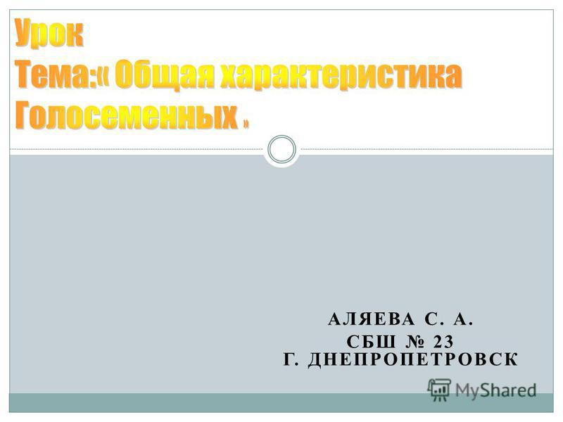 АЛЯЕВА С. А. СБШ 23 Г. ДНЕПРОПЕТРОВСК