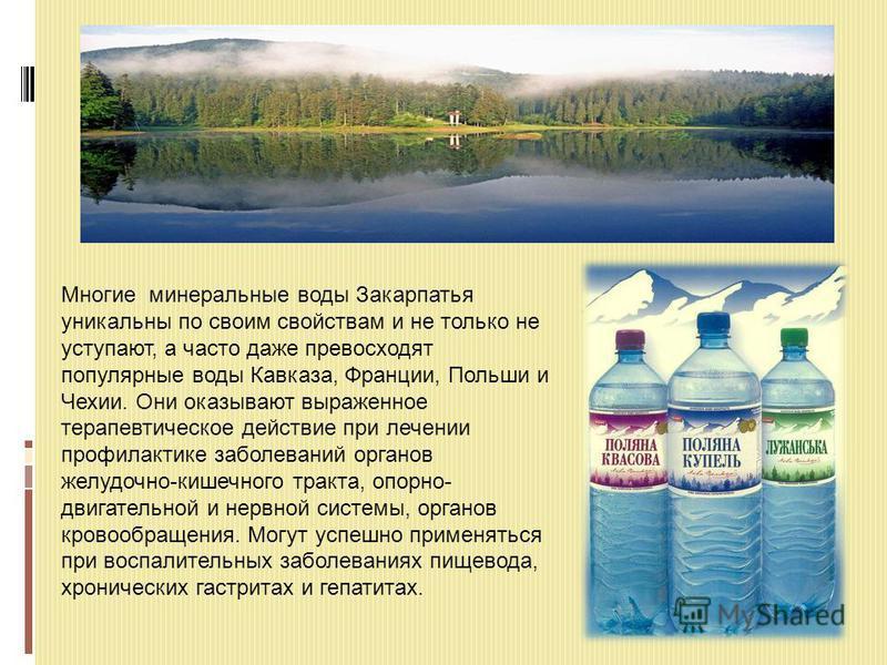 Многие минеральные воды Закарпатья уникальны по своим свойствам и не только не уступают, а часто даже превосходят популярные воды Кавказа, Франции, Польши и Чехии. Они оказывают выраженное терапевтическое действие при лечении профилактике заболеваний