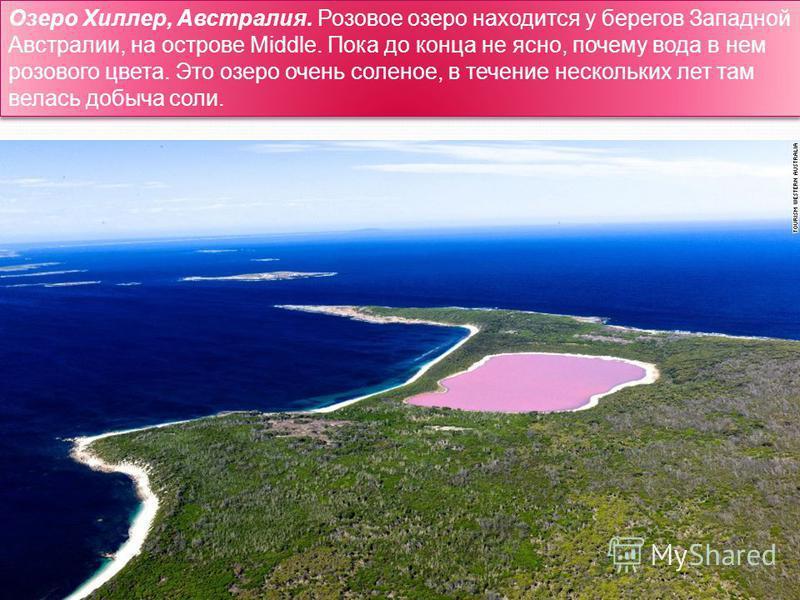 Озеро Хиллер, Австралия. Розовое озеро находится у берегов Западной Австралии, на острове Middle. Пока до конца не ясно, почему вода в нем розового цвета. Это озеро очень соленое, в течение нескольких лет там велась добыча соли.