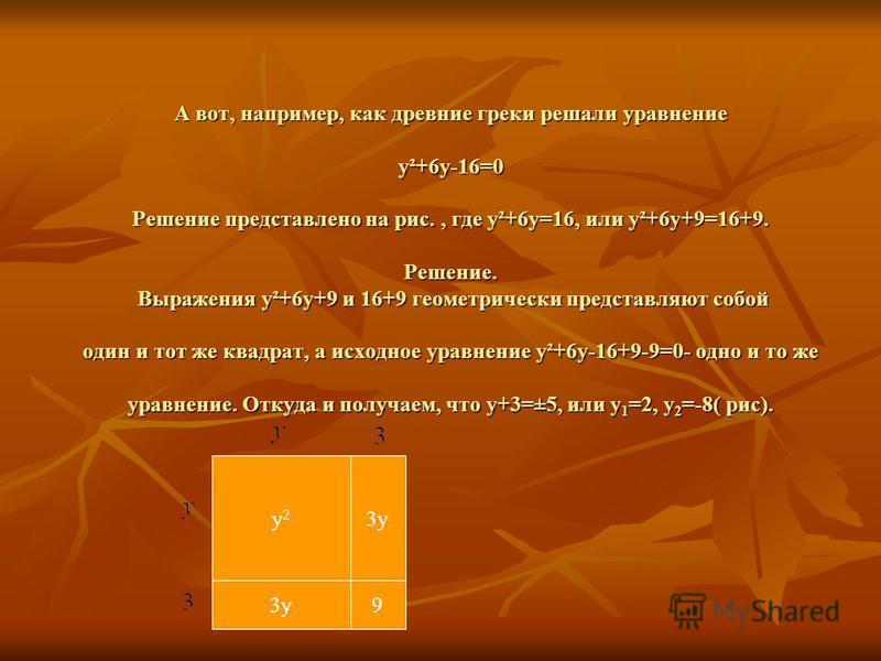 А вот, например, как древние греки решали уравнение y²+6y-16=0 Решение представлено на рис., где y²+6y=16, или y²+6y+9=16+9. Решение. Выражения y²+6y+9 и 16+9 геометрически представляют собой один и тот же квадрат, а исходное уравнение y²+6y-16+9-9=0