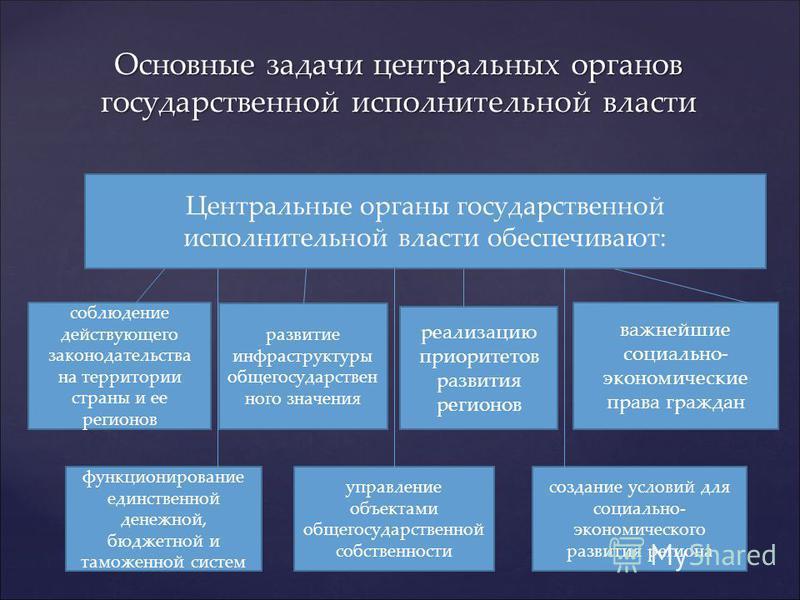 Основные задачи центральных органов государственной исполнительной власти Центральные органы государственной исполнительной власти обеспечивают: соблюдение действующего законодательства на территории страны и ее регионов функционирование единственной