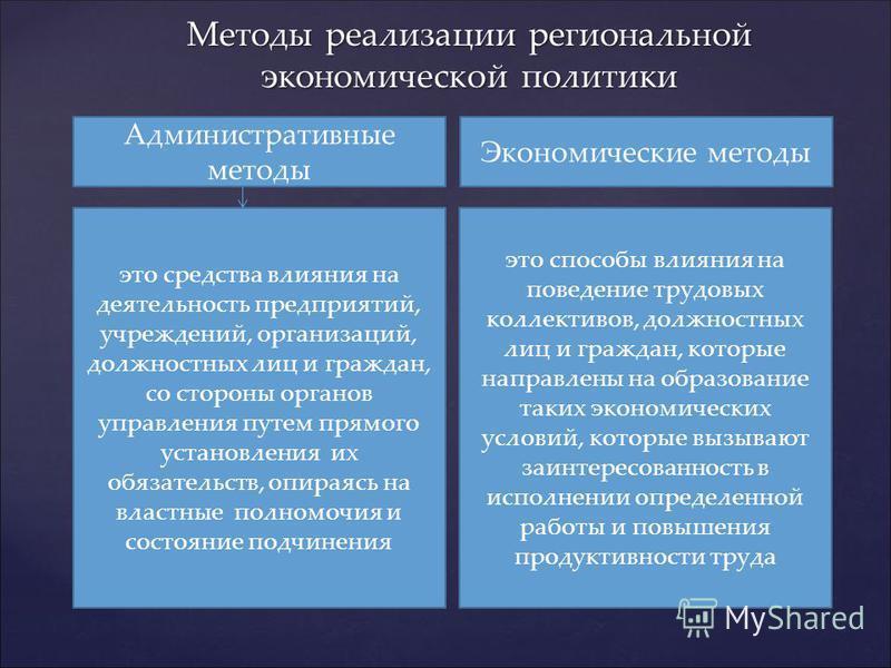 Методы реализации региональной экономической политики Административные методы Экономические методы это средства влияния на деятельность предприятий, учреждений, организаций, должностных лиц и граждан, со стороны органов управления путем прямого устан