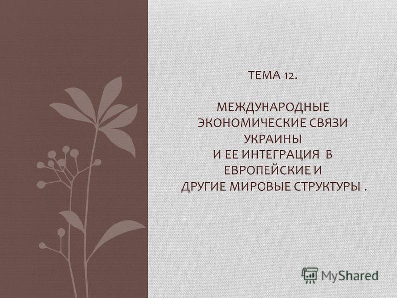 ТЕМА 12. МЕЖДУНАРОДНЫЕ ЭКОНОМИЧЕСКИЕ СВЯЗИ УКРАИНЫ И ЕЕ ИНТЕГРАЦИЯ В ЕВРОПЕЙСКИЕ И ДРУГИЕ МИРОВЫЕ СТРУКТУРЫ.
