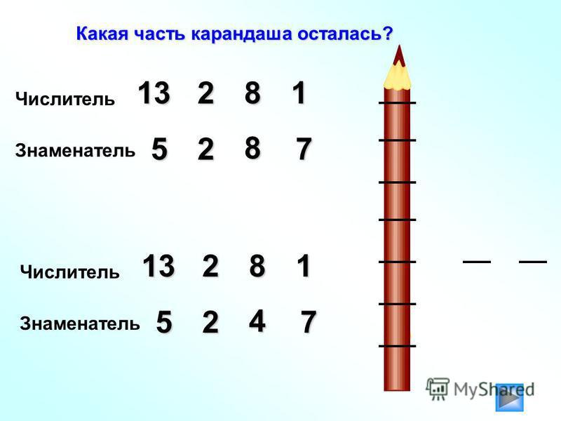 Какая часть карандаша осталась? Числитель 21381 Знаменатель 527 8 Числитель 11382 Знаменатель 527 4