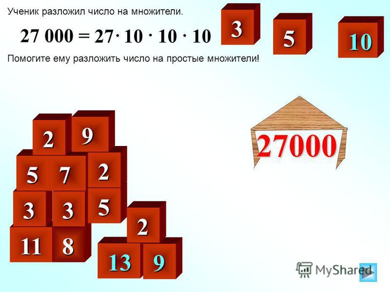 Ученик разложил число на множители. Помогите ему разложить число на простые множители! 27 000 = 27 10 10 10 3 11 11 3 13 13 10 10 9 8 3 5 5 5 7 2 2 2 27000 9