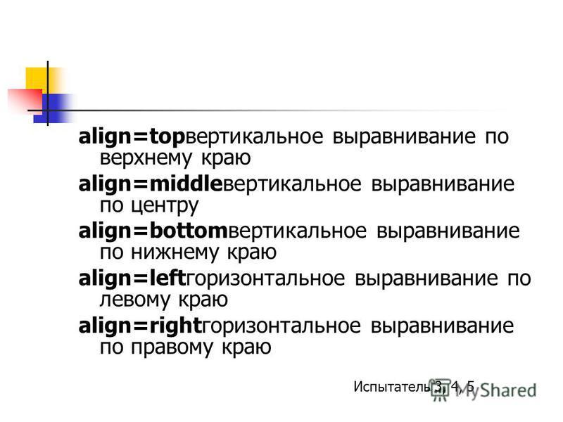 align=topвертикальное выравнивание по верхнему краю align=middleвертикальное выравнивание по центру align=bottomвертикальное выравнивание по нижнему краю align=leftгоризонтальное выравнивание по левому краю align=rightгоризонтальное выравнивание по п