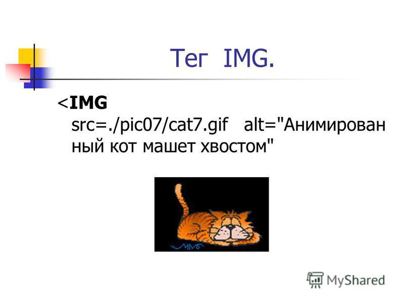 Тег IMG. <IMG src=./pic07/cat7. gif alt=Анимирован ный кот машет хвостом