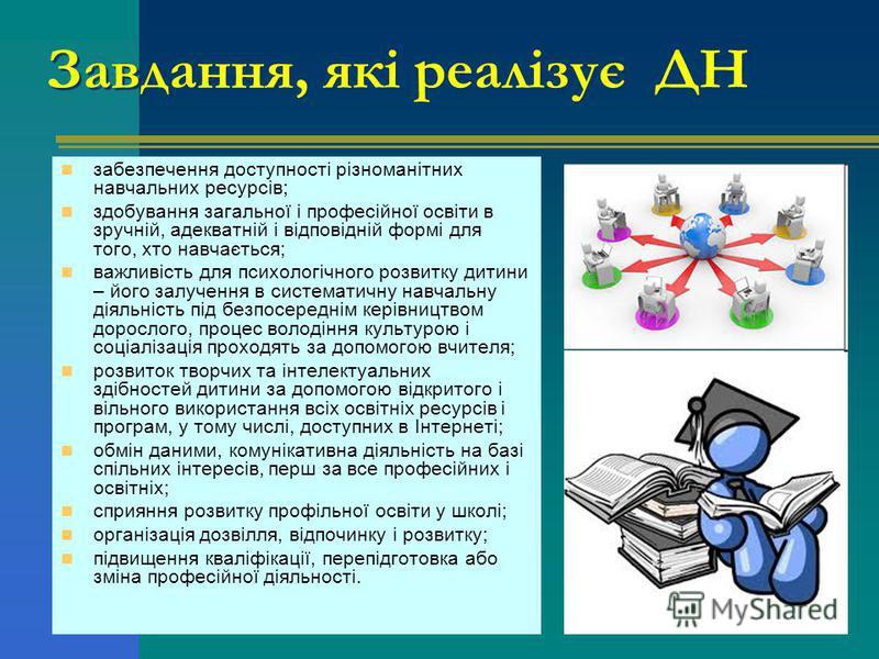 Завдання, які реалізує ДН забезпечення доступності різноманітних навчальних ресурсів; здобування загальної і професійної освіти в зручній, адекватній і відповідній формі для того, хто навчається; важливість для психологічного розвитку дитини – його з