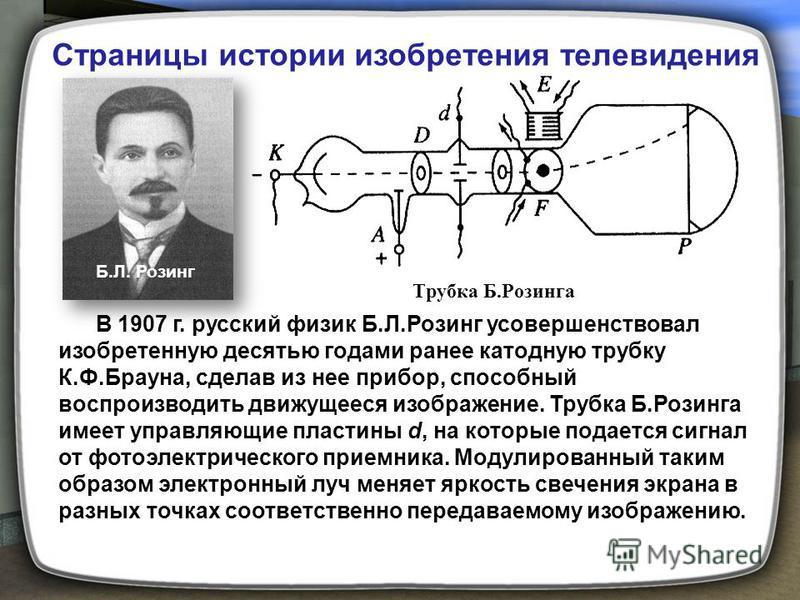 Трубка Б.Розинга Б.Л. Розинг В 1907 г. русский физик Б.Л.Розинг усовершенствовал изобретенную десятью годами ранее катодную трубку К.Ф.Брауна, сделав из нее прибор, способный воспроизводить движущееся изображение. Трубка Б.Розинга имеет управляющие п