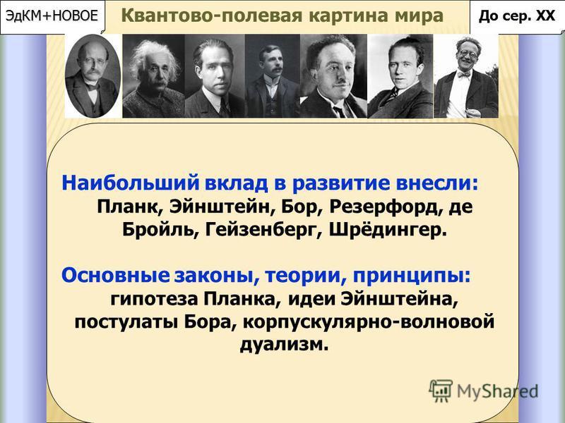 Идея квантования энергии. Макс Планк (1900 год); Эйнштейн (1905 год), Нильс Бор (постулаты Бора – стабильность атома на основании квантования энергии); Эйнштейн ( фотоэффект hν = Е к + А ; 1905 год). Законы фотоэффекта установлены Столетовым в 1888 г