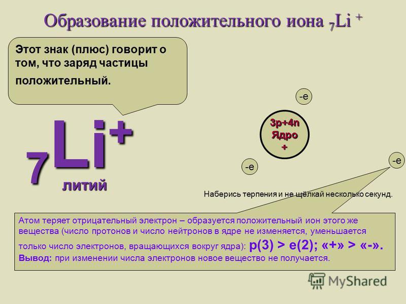 Образование отрицательного иона 7 Li - 7 Li - литий Атом приобретает отрицательный электрон – образуется отрицательный ион этого же вещества (число протонов и число нейтронов в ядре не изменяется, увеличивается только число электронов, вращающихся во