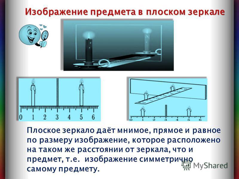 Изображение предмета в плоском зеркале Плоское зеркало даёт мнимое, прямое и равное по размеру изображение, которое расположено на таком же расстоянии от зеркала, что и предмет, т.е. изображение симметрично самому предмету.