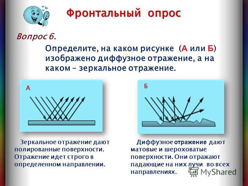 Вопрос 6. Фронтальный опрос Диффузное отражение дают матовые и шероховатые поверхности. Они отражают падающие на них лучи во всех направлениях. Зеркальное отражение дают полированные поверхности. Отражение идет строго в определенном направлении. А Б
