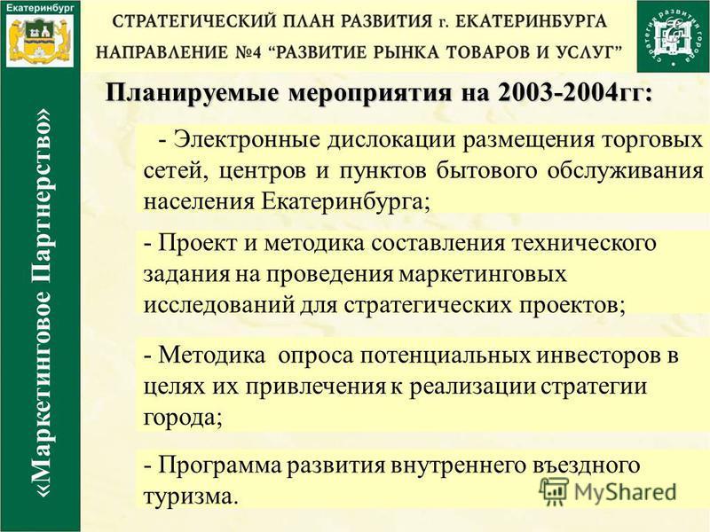 Планируемые мероприятия на 2003-2004 гг: «Маркетинговое Партнерство» - Э лектронные дислокации размещения торговых сетей, центров и пунктов бытового обслуживания населения Екатеринбурга; - Методика опроса потенциальных инвесторов в целях их привлечен