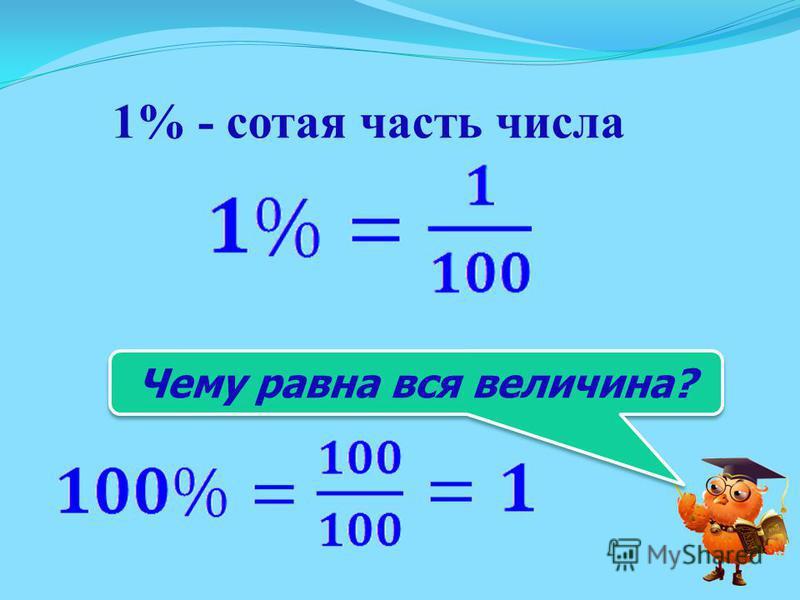 1% - сотая часть числа Чему равна вся величина?