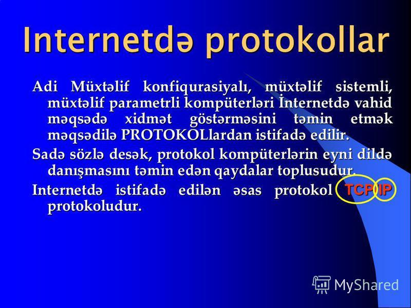 Internetdə protokollar Adi Müxtəlif konfiqurasiyalı, müxtəlif sistemli, müxtəlif parametrli kompüterləri İnternetdə vahid məqsədə xidmət göstərməsini təmin etmək məqsədilə PROTOKOLlardan istifadə edilir. Sadə sözlə desək, protokol kompüterlərin eyni