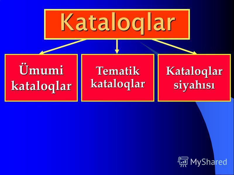 Ümumi kataloqlar Tematik kataloqlar Kataloqlar siyahısı Kataloqlar